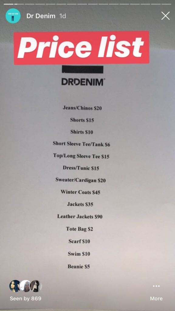 Dr. Denim Sample Sale